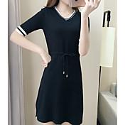Mujer Línea A Corte Ancho Vestido Casual/Diario Sexy,Un Color Escote en Pico Sobre la rodilla Manga Corta Algodón Verano Tiro Medio