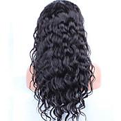 水の波レース前部人間の毛のかつら黒の女性のための前に摘発された髪ペルーレミー髪のかつら