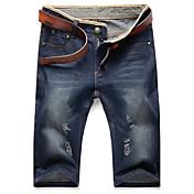 Masculino Simples Cintura Média Inelástico Jeans Calças,Reto Sólido