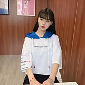 Mujer Vintage Noche Camiseta,Escote Redondo Un Color Manga Corta Algodón