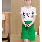 レディース カジュアル/普段着 夏 Tシャツ(21) スカート スーツ,シンプル ラウンドネック レタード 半袖