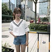 Mujer Simple Casual/Diario Verano Camiseta,Escote en Pico Un Color Manga Corta Algodón