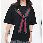 Mujer Simple Casual/Diario Verano Camiseta,Escote Redondo Un Color Estampado Manga Corta Algodón Fino