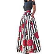 Mujer Dos Piezas Vestido Casual/Diario Simple,Floral Estampado Escote Redondo Maxi Manga Corta Algodón Verano Tiro Alto Microelástico
