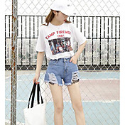 Mujer Sencillo Tiro Medio Microelástico Shorts Pantalones,Perneras anchas Bloque de Color