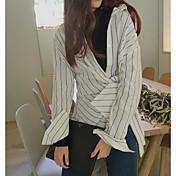 Mujer Simple Noche Camisa,Escote en Pico Un Color A Rayas Manga Larga Algodón