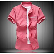 メンズ 日常 夏 シャツ,シンプル スタンド ソリッド コットン ポリエステル 半袖 ミディアム
