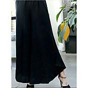 Mujer Sencillo Tiro Alto Microelástico Corte Ancho Pantalones,Holgado Un Color Color puro