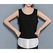 Mujer Simple Casual/Diario Camiseta,Escote Redondo Un Color Sin Mangas Algodón Fino