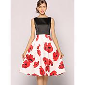 Mujer Línea A Corte Swing Vestido Vintage Sofisticado,Floral Escote Redondo Hasta la Rodilla Sin Mangas Poliéster Verano Tiro Alto Rígido