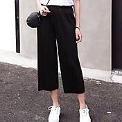 Mujer Sencillo Tiro Medio Microelástico Corte Ancho Pantalones,Holgado Un Color