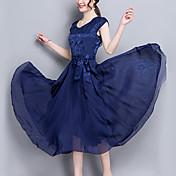 Mujer Corte Swing Vestido Noche Fiesta/Cóctel Tallas Grandes Vintage Sofisticado,Un Color Escote Redondo Midi Manga Corta Rayón Poliéster