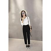 Mujer Sencillo Tiro Alto Microelástico Empresa Pantalones,Corte Recto Un Color