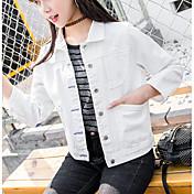 レディース 日常 春 デニムジャケット,現代風 シャツカラー ソリッド ショート その他 長袖