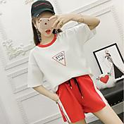 Mujer Casual Diario Casual Verano T-Shirt Pantalón Trajes,Escote Redondo A Rayas Estampado Bloques Manga 1/2 Microelástico