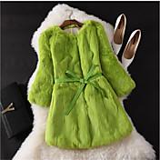 Mujer Casual Boda Fiesta Ocasión especial Cumpleaños Trabajo Otoño Abrigo de Piel,Escote Redondo Un Color Pelo de Conejo Regular