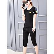 Mujer Simple Casual/Diario Verano T-Shirt Pantalón Trajes,Escote Redondo Un Color Estampado Manga Corta Microelástico