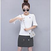Mujer Simple Noche Casual/Diario Verano T-Shirt Falda Trajes,Escote Redondo Un Color A Rayas Manga Tres Cuartos Microelástico