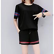 Mujer Casual Diario Casual Verano T-Shirt Pantalón Trajes,Escote Redondo Un Color A Rayas Manga Corta Microelástico
