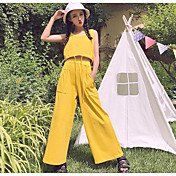 Mujer Casual Casual/Diario Verano Tank Top Pantalón Trajes,Escote Redondo Un Color Sin Mangas Microelástico