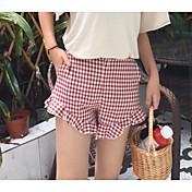 Mujer Sencillo Tiro Medio Microelástico Shorts Pantalones,Perneras anchas Bloques