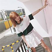 レディース 日常 カジュアル 夏 Tシャツ(21) スカート スーツ,カジュアル ラウンドネック プリント 半袖 マイクロエラスティック