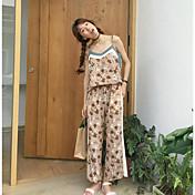 Mujer Simple Casual Verano Tank Top Pantalón Trajes,Con Tirantes Floral Sin Mangas Microelástico