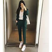 レディース ワーク 春 シャツ パンツ スーツ,シンプル ピーターパンカラー ソリッド 長袖