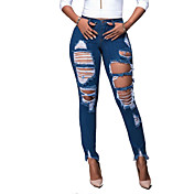 Damer Enkel Gade Mikroelastisk Tynde Jeans Bukser,Højtaljede Ribbet Ensfarvet