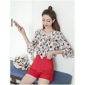 Mujer Empapa Diario Verano Blusa Vestidos Trajes,Escote Redondo Floral Estampado Manga Corta