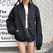 Mujer Casual Casual Primavera Chaqueta,Escote Chino Un Color Manga Larga Algodón Regular De Gran Tamaño