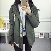 レディース 日常 冬 ジャケット,カジュアル フード付き プリント レギュラー ポリエステル 長袖