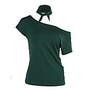 レディース 日常 カジュアル/普段着 夏 Tシャツ,シンプル ラウンドネック プリント ポリエステル 半袖 薄手