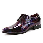 Hombre Zapatos Cuero Patentado Primavera Otoño Confort Oxfords Botines/Hasta el Tobillo Flor Para Boda Casual Fiesta y Noche Rojo Verde