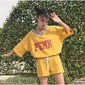 Mujer Casual Diario Casual Verano T-Shirt Pantalón Trajes,Escote en Pico Un Color Refranes y citas Manga Corta Microelástico