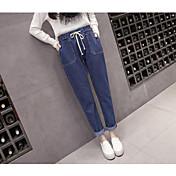 Mujer chinoiserie Media cintura Microelástico Vaqueros Pantalones,Delgado Un Color Vaqueros Color puro Vaqueros