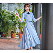 Mujer Corte Ancho Vestido Casual/Diario Simple,Un Color Cuello Barco Midi Manga 3/4 Algodón Primavera Tiro Medio Microelástico Fino