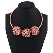 Mujer Gargantillas Collares de cadena Collares Declaración Forma Redonda Forma de Flor Gato Resina Círculo Floral joyería de disfraz Joyas