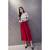 Mujer Sencillo Alta cintura Microelástico Chinos Pantalones,Perneras anchas Un Color