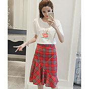 Mujer Casual Casual/Diario Verano T-Shirt Falda Trajes,Escote Redondo Un Color Patrón Ajedrez Manga Corta
