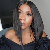 Mujer Pelucas de Cabello Natural Cabello humano Encaje Completo Integral sin Pegamento 130% Densidad Liso Peluca Negro Azabache Negro
