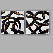 手描きの 抽象画 高品質 ファッション アールデコ/レトロ クール 甘い 特殊型 2枚 キャンバス ハング塗装油絵 For ホームデコレーション