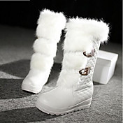Mujer Zapatos PU Invierno Confort Botas de Moda Botas Para Casual Blanco Negro