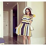 Mujer Verano Camisas Falda Trajes,Escote Redondo Manga Corta Microelástico