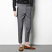 Hombre Sencillo Tiro Medio Microelástico Chinos Empresa Pantalones,Corte Recto Delgado Un Color