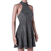 Mujer Vaina Vestido Casual/Diario Simple,Un Color Escote Redondo Sobre la rodilla Sin Mangas Verano Tiro Medio Microelástico Medio