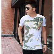 Hombre Chic de Calle Noche Camiseta,Escote Redondo Estampado Bloques Manga Corta Otro