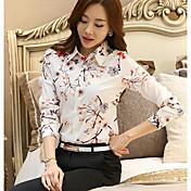 Mujer Simple Casual/Diario Camisa,Cuello Camisero Floral Estampado Manga Larga Algodón Otro