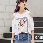 Mujer Vintage Camiseta,Escote Redondo Un Color Manga Corta Algodón