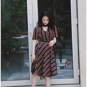 Mujer Vaina Vestido Casual/Diario A Rayas Escote en Pico Hasta la Rodilla Manga Corta Algodón Verano Tiro Alto Rígido Fino